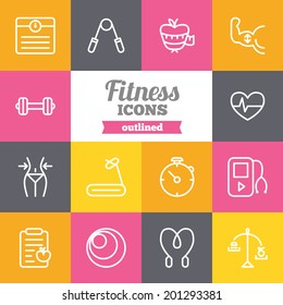 Set of flat fitness icons