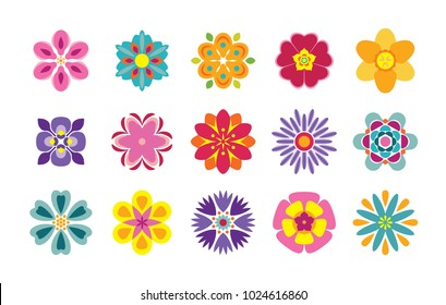 Set of flat flower icons isolated on white background. Cute vector illustrations in bright colors for stickers, labels, tags, scrapbooking.