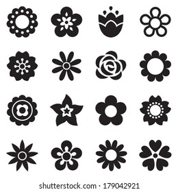 Set of flat flower icons in silhouette isolated on white. Simple retro designs in black and white. Seamless background pattern for gift wrapping paper, textiles, wallpaper.