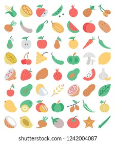 Set of flat fruits and vegetables icons