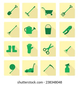 Set of flat garden tools icons