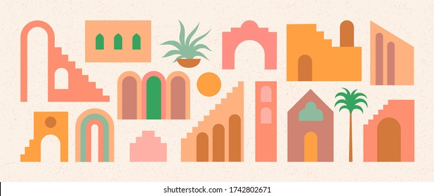 Set of flat geometry architecture elements, Moroccan stairs, walls, arch, arc, palm. Boho style. Mid Century modern abstract print. Earthy tone, terracotta colors. Contemporary aesthetic background.