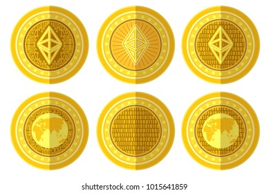 Set of flat golden coin with bit coin ethereum sign back and front side. Vector Illustration isolated on white background