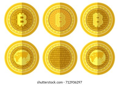 Set of flat golden coin with bit coin sign back and front side. Vector Illustration isolated on white background