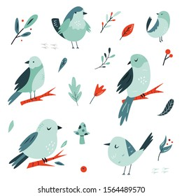 Set of flat hand drawn doodle birds in blue tones. Vector illustration. For greetings, birthday cards, patterns, prints