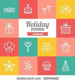 Set of flat holiday icons