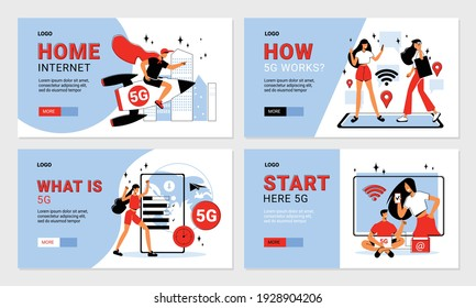 Set of flat home 5g internet horizontal banners with editable text people and electronic devices isolated vector illustration