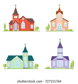 Set of flat icon churches. For web design and application interface, also useful for infographics. Vector illustration. Catholic churches landscape.
