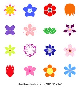 Set of flat icon flower icons colorful