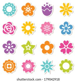 Set of flat icon flower stickers in bright colors isolated on white. Cute retro designs, seamless background pattern for stickers, labels, tags, gift wrapping paper.