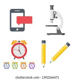 Set of flat icon smartphone microscope wake up alarm pencil