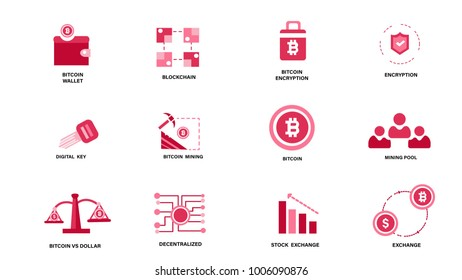 Set of Flat Icon Vector Bitcoin and Cryptocurrency Icons. Mining, coin, money, exchange,stock, encryption. Bitcoin cryptocurrency. Illustration eps 10.