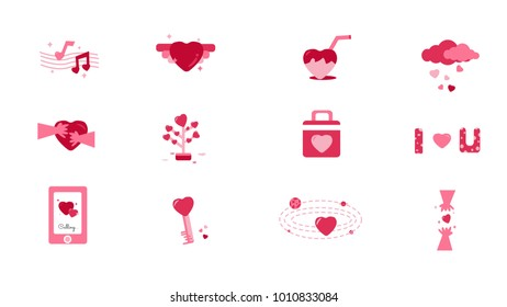 Set of Flat Icon Vector Love and Hearts Icons. Heart wings,touching,calling,key and lock,love tree,raining. Valentine's day concept. Illustration eps 10.