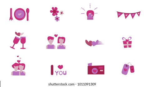 Set of Flat Icon Vector Love and Hearts Icons: Couple,dinner,date,kiss,stars,wine,celebration,love bulb,gift,camera,tag label. Valentine's day concept. Illustration eps 10.