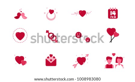 Set of Flat Icon Vector Love and Hearts Icons. Ring,calendar,love birds,Heart wave,gender,letter,couple. Valentine's day concept. Illustration eps 10.