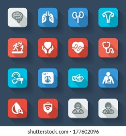 Set of flat icons about health in a square with long shadow. Medical specialties