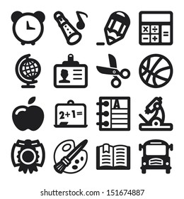 Set of flat icons about school