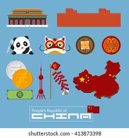 Set of flat icons of Chinese architecture, food, traditional symbols. Vector Illustration.
