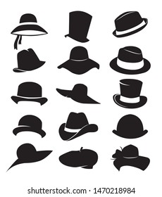 set of flat icons with classic hats, vector illustration