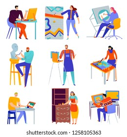 Set of flat icons creative professions graphic designer painter master of sculpture restorer isolated vector illustration