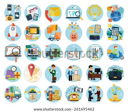 Set Flat Icons Earnings Accounts Transport Stock Vector