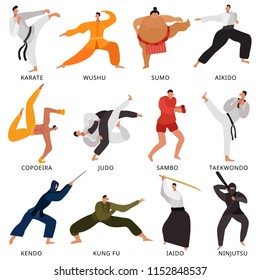 Set of flat icons fighters of various martial arts in uniform with weapon isolated vector illustration