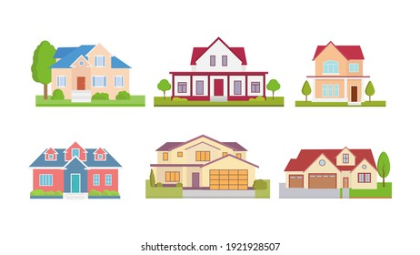 Set flat icons of houses and buildings isolated on white. Vector illustration