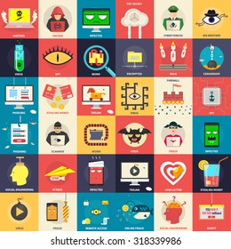 Set of flat icons, illustrations - cyber, computer security, hacker, malware, application development,  fraud on the internet. Design elements for web, mobile applications, infographics.