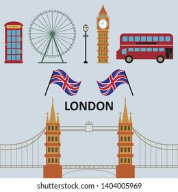 A set of flat icons for London city, Big Ben, London Eye, London Bus,Old Telephone, England Flag, and Tower Bridge