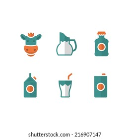 Set flat icons of milk isolated on white. Vector illustration