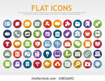 Set of flat icons for mobile app and web. Eps 10