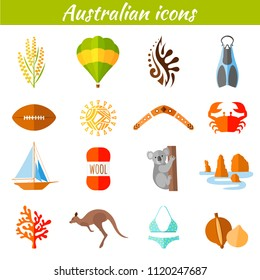 Set of flat icons on the Australian theme. Vector illustration. Elements of design. Famous symbols of Australia.