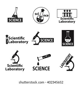 Set of flat icons on the theme of science. Vector illustration on white background. Flat style. Set of logos