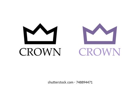 Set of Flat Icons, Purple King Crown, Vector Illustration.