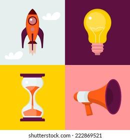 Set of flat icons : rocket, light bulb, sand clock, megaphone.