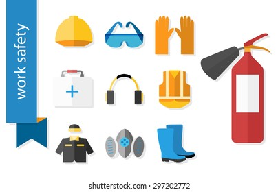 Set of flat icons for safety work. Vector illustration.