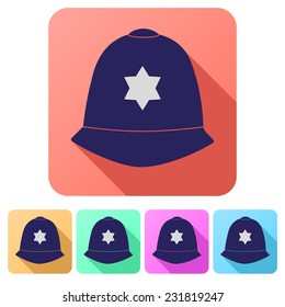Set Flat icons of  traditional authentic helmet of metropolitan British police officers. Vector illustration.