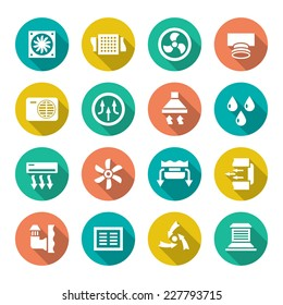 Set flat icons of ventilation and conditioning isolated on white. Vector illustration