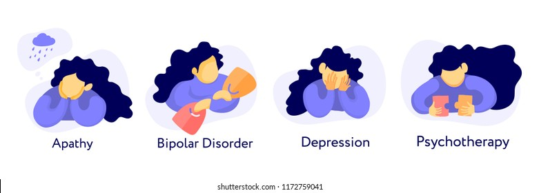 set of flat illustration about mental health: apathy, depression, bipolar disorder and psychotherapy. Young girl at differnt poses and conditions.
