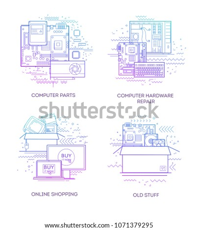 Pleasing Set Flat Illustrations Computer Parts Equipment Stock Vector Wiring Digital Resources Remcakbiperorg