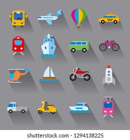 set of flat illustrations for concept icons of transport