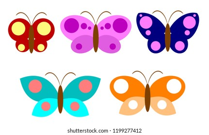Set of flat images of multicolored butterflies