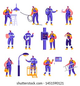 Set of Flat Industry and Smart Home Maintenance Service Workers Characters. Cartoon People Engineer Control Pipe, Solar Panel, Manometer, Technician Engineering. Vector Illustration.