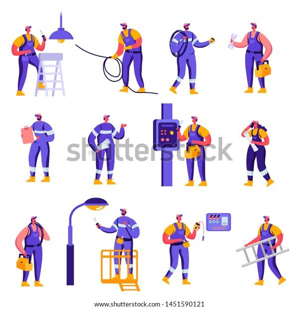 Set Flat Industry Smart Home Maintenance Stock Vector