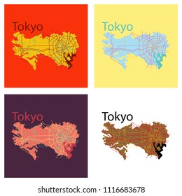 Set of Flat Japan Tokyo - Top view map showing streets design on top