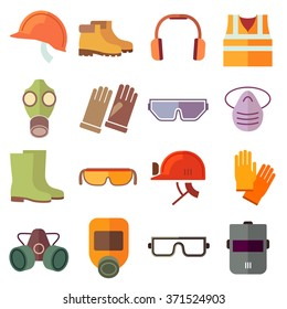 Set of flat job safety equipment icons with helmet industrial, headgear and protection boot. Vector illustration