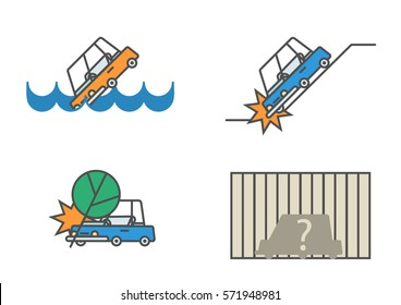 set of flat line car insurance illustrations featuring tree falling on automobile vehicle drowning in