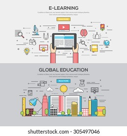 Set of Flat Line Color Banners Design Concept for E learning and Global Education. Vector