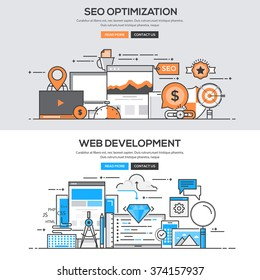 Set of Flat Line Color Banners Design Concepts for SEO Optimization and Web Development. Vector