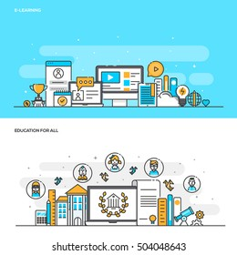 Set of Flat Line Color Banners Design Concepts for E Learning and Education for all. Concepts web banner and printed materials. Vector Illustration